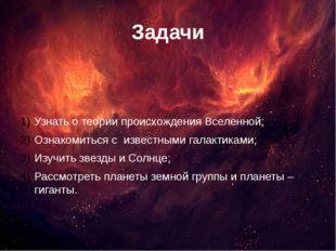 Задачи Узнать о теории происхождения Вселенной; Ознакомиться с известными гал
