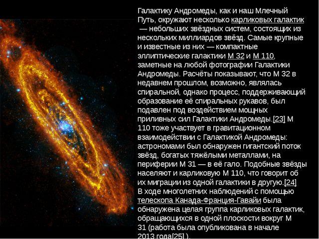 Галактику Андромеды, как и наш Млечный Путь, окружают несколькокарликовых га...