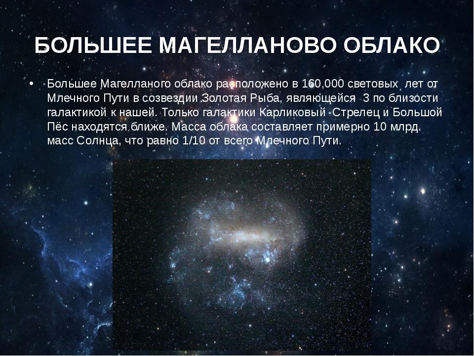 БОЛЬШЕЕ МАГЕЛЛАНОВО ОБЛАКО Большее Магелланого облако расположено в 160,000 с...