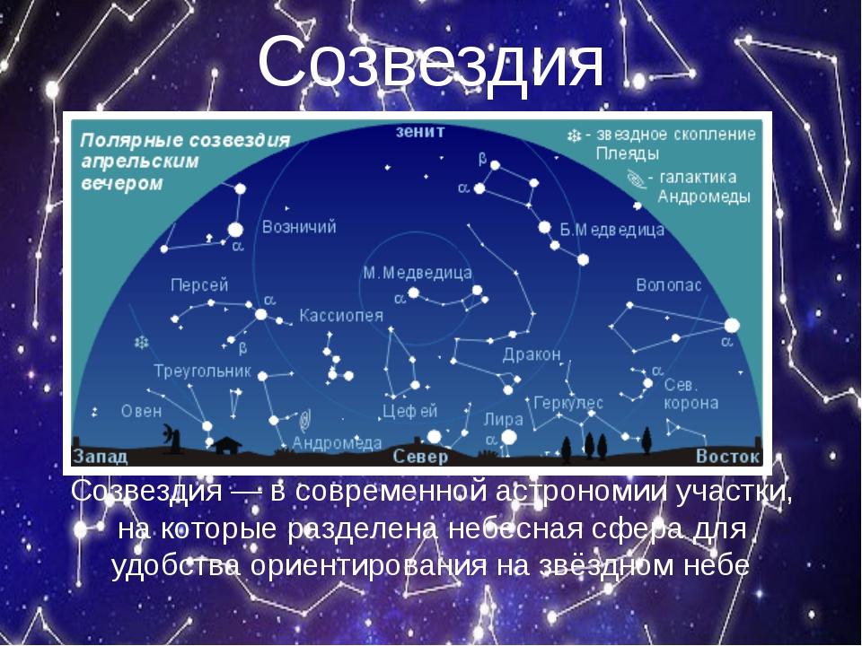 Созвездия Созвездия — в современной астрономии участки, на которые разделена...