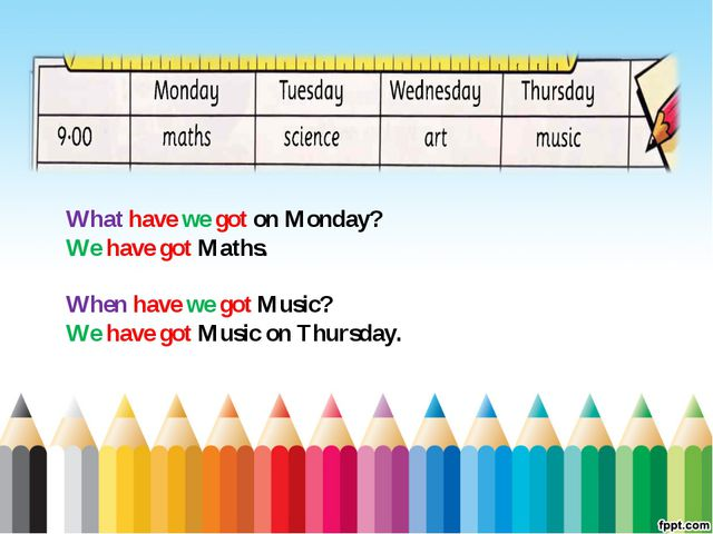 What have we got on Monday? We have got Maths. When have we got Music? We hav...