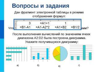 Вопросы и задания Что такое диаграмма? Каково назначение диаграмм? Назовите о