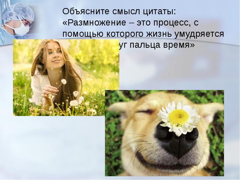 Объясните смысл цитаты: «Размножение – это процесс, с помощью которого жизнь...