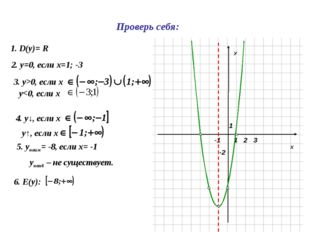 Х У 1 1 -2 2 3 -1 1. D(y)= R 2. у=0, если х=1; -3 3. у>0, если х 4. у↓, если
