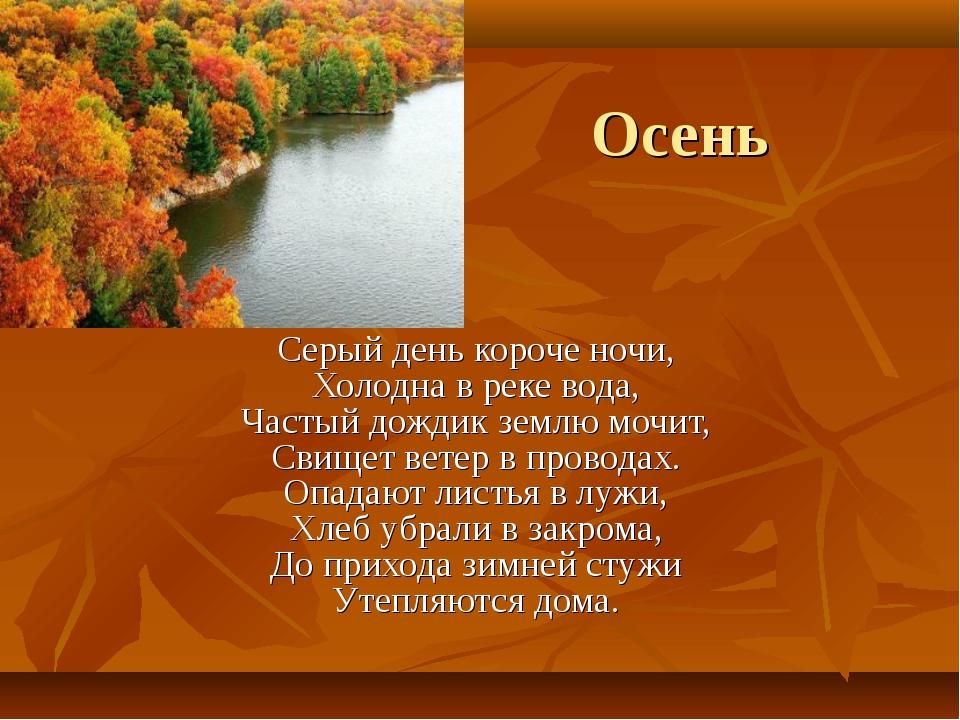 Осень Серый день короче ночи, Холодна в реке вода, Частый дождик землю мочит,...