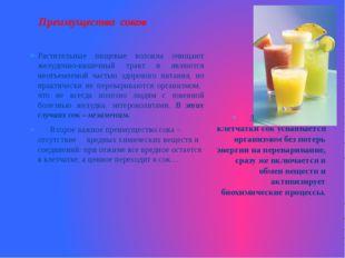 Преимущества соков Растительные пищевые волокна очищают желудочно-кишечный тр