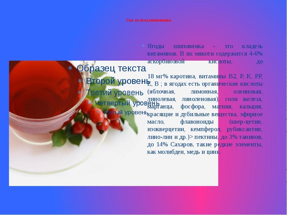 Сок из ягод шиповника Ягоды шиповника - это кладезь витаминов. В их мякоти с...