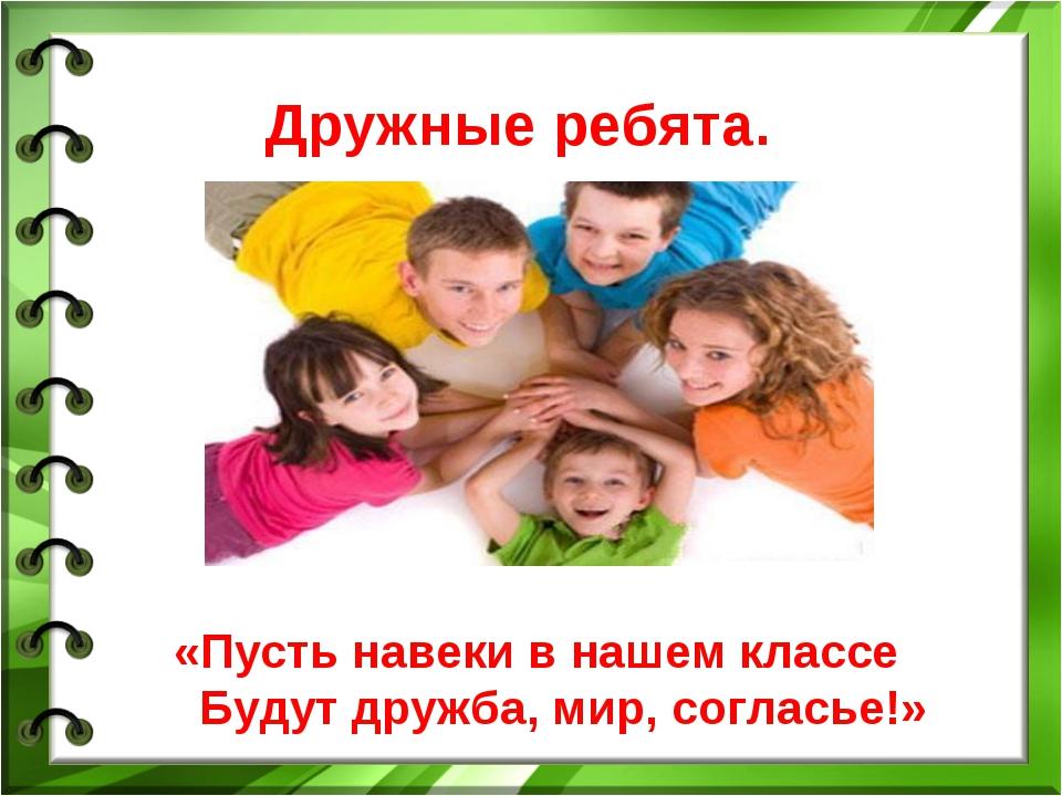 Дружные ребята. «Пусть навеки в нашем классе Будут дружба, мир, согласье!»
