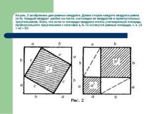 На рис. 2 изображено два равных квадрата. Длина сторон каждого квадрата равна
