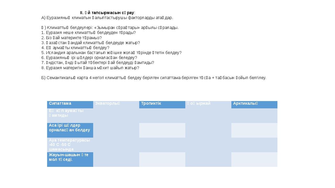 ІІ. Үй тапсырмасын сұрау: А) Еуразияның климатын қалыптастырушы факторларды...