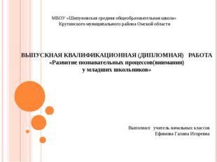 ВЫПУСКНАЯ КВАЛИФИКАЦИОННАЯ (ДИПЛОМНАЯ) РАБОТА «Развитие познавательных процес