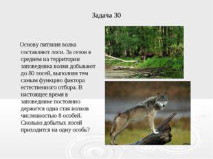 Задача 30 Основу питания волка составляют лоси. За сезон в среднем на террито