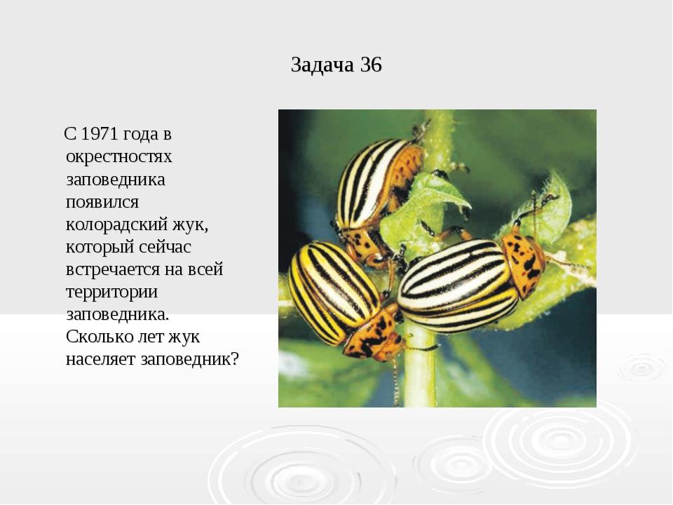 Задача 36 С 1971 года в окрестностях заповедника появился колорадский жук, ко...