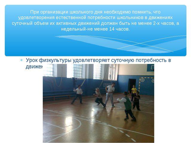 Урок физкультуры удовлетворяет суточную потребность в движении на 20-40% При...