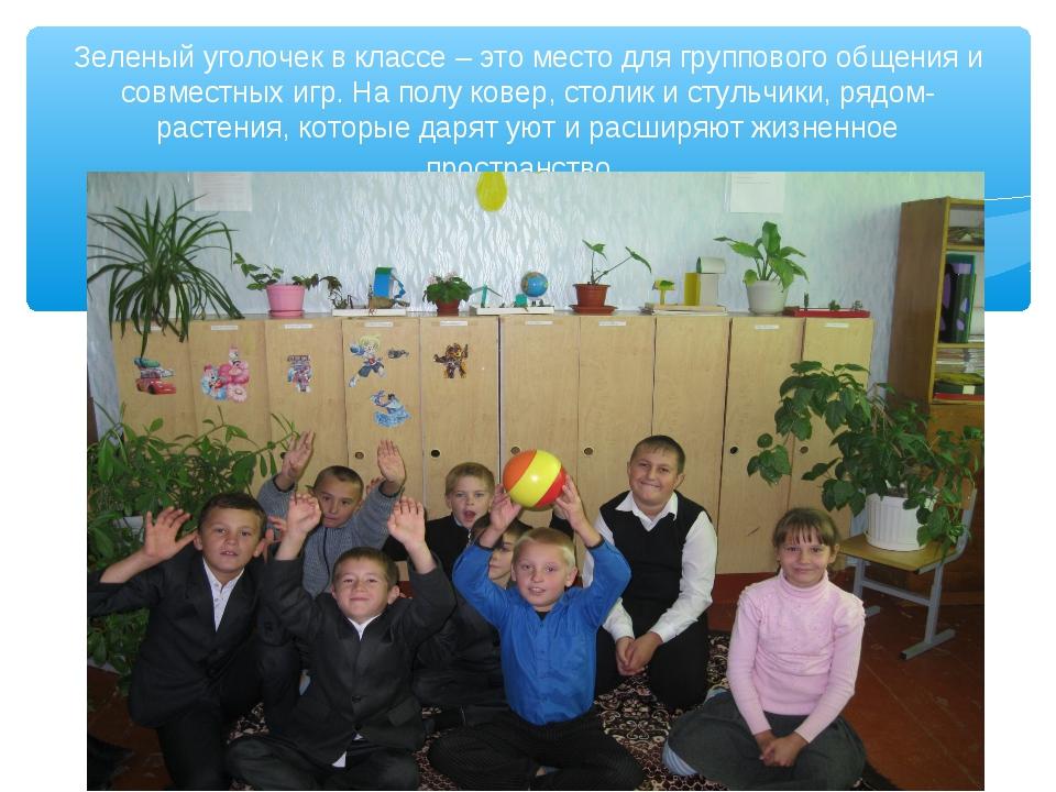 Зеленый уголочек в классе – это место для группового общения и совместных игр...