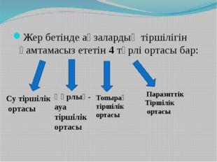 Жер бетінде ағзалардың тіршілігін қамтамасыз ететін 4 түрлі ортасы бар: Су ті