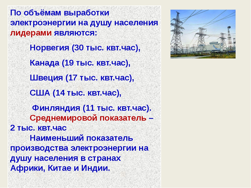 По объёмам выработки электроэнергии на душу населения лидерами являются: Норв...