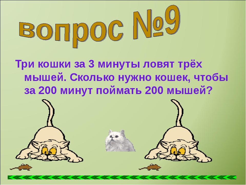 Три кошки за 3 минуты ловят трёх мышей. Сколько нужно кошек, чтобы за 200 мин...