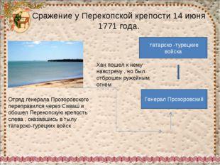 Сражение у Перекопской крепости 14 июня 1771 года. Отряд генерала Прозоровско