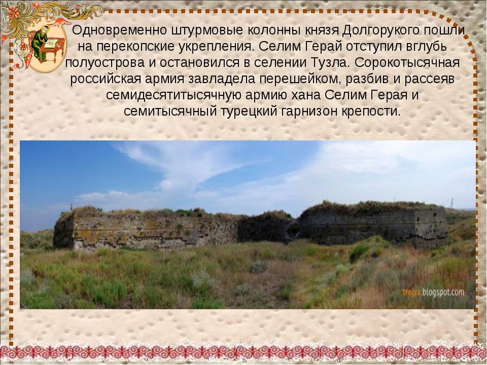 Одновременно штурмовые колонны князя Долгорукого пошли на перекопские укре...