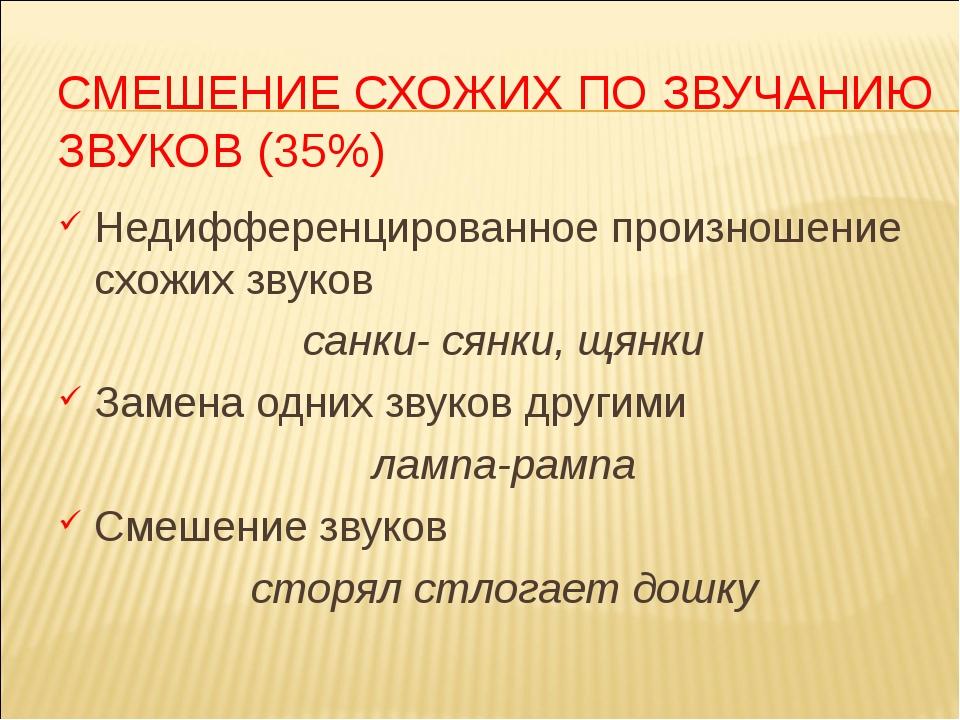 СМЕШЕНИЕ СХОЖИХ ПО ЗВУЧАНИЮ ЗВУКОВ (35%) Недифференцированное произношение сх...