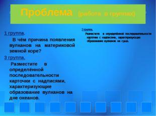 Проблема (работа в группах) 1 группа. В чём причина появления вулканов на мат