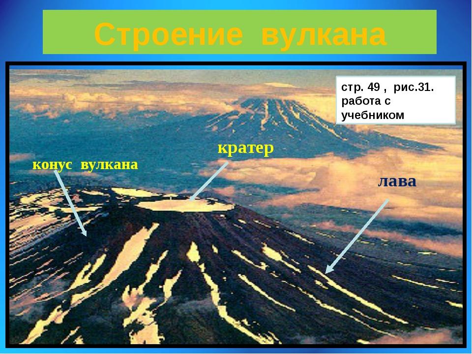 Строение вулкана конус вулкана кратер лава стр. 49 , рис.31. работа с учебником
