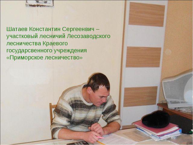 Шатаев Константин Сергеенвич – участковый лесничий Лесозаводского лесничества...