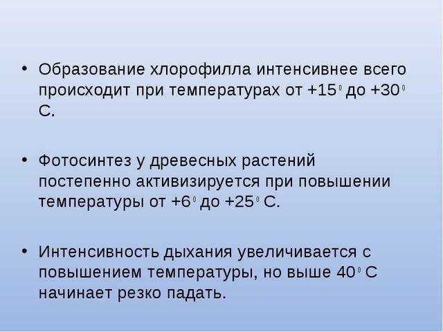 Образование хлорофилла интенсивнее всего происходит при температурах от +15 о...