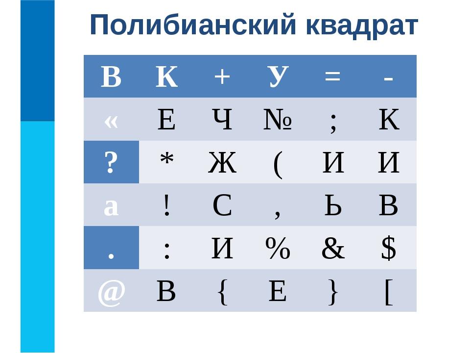 Полибианский квадрат В К + У = - « Е Ч № ; К ? * Ж ( И И а ! С , Ь В . : И %...