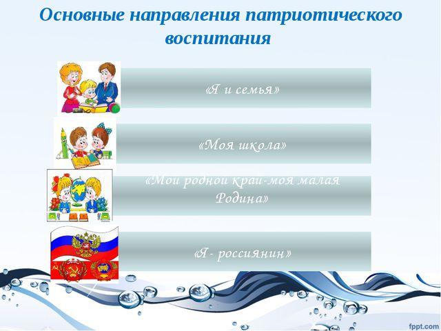 Основные направления патриотического воспитания «Я и семья» «Мой родной край-...