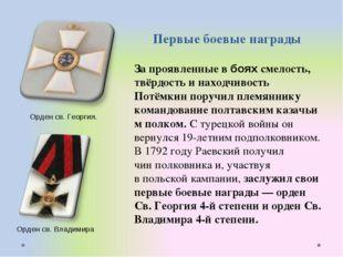 Первые боевые награды За проявленные в боях смелость, твёрдость и находчивост