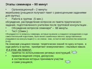 Этапы семинара – 90 минут Организационный – 2 минуты жеребьевка (учащиеся пол
