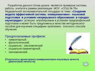 Разработка данного блока уроков является примером системы работы учителя в р