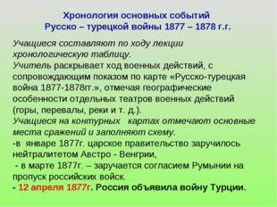 Хронология основных событий Русско – турецкой войны 1877 – 1878 г.г. Учащиеся