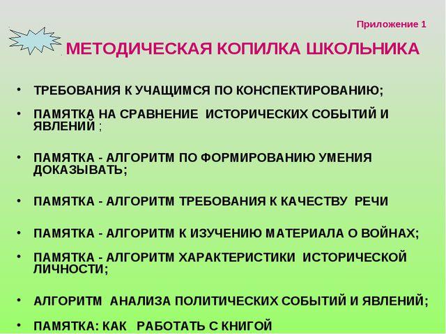 Приложение 1 МЕТОДИЧЕСКАЯ КОПИЛКА ШКОЛЬНИКА ТРЕБОВАНИЯ К УЧАЩИМСЯ ПО КОНСПЕК...