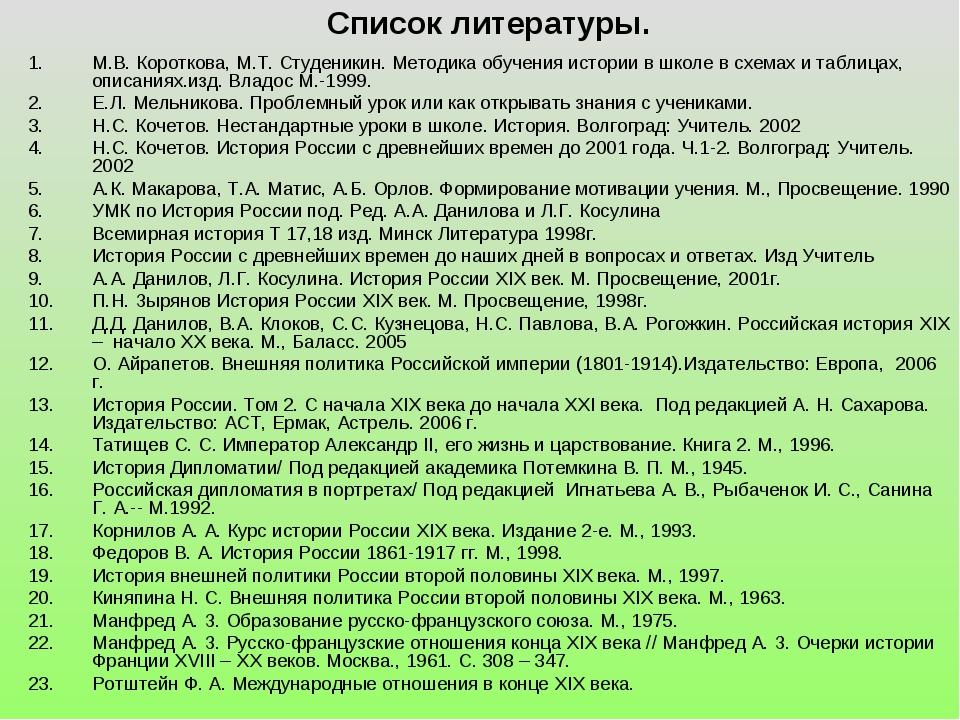 Список литературы. М.В. Короткова, М.Т. Студеникин. Методика обучения истории...