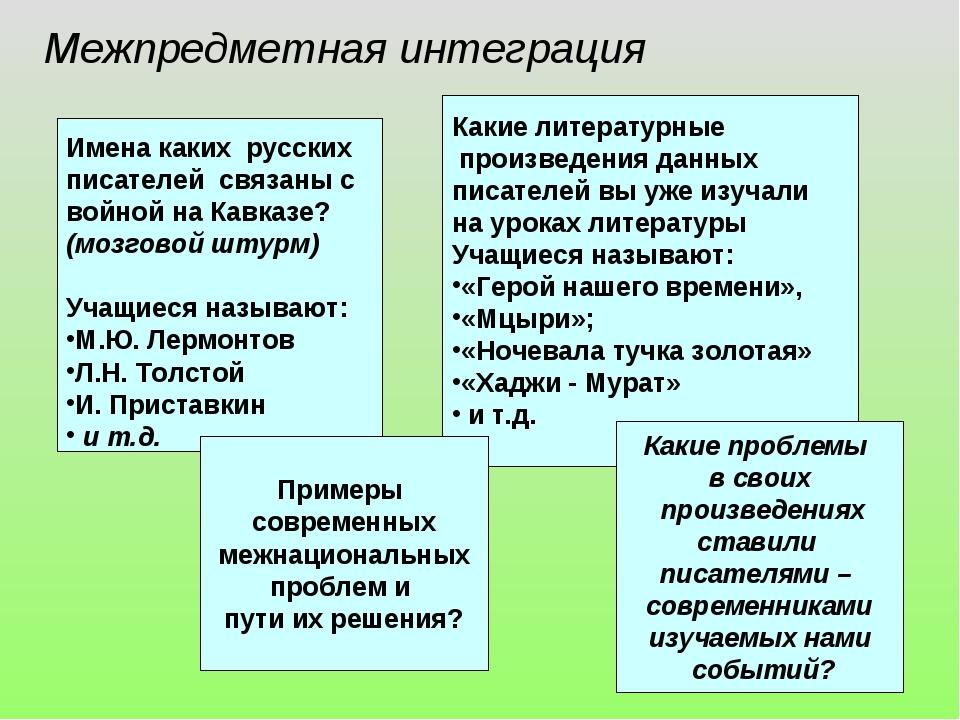 Межпредметная интеграция Имена каких русских писателей связаны с войной на Ка...