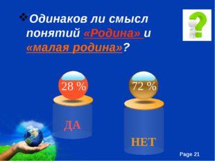 Одинаков ли смысл понятий «Родина» и «малая родина»? ДА 72 % 28 % НЕТ Free Po