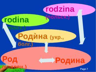 Род (славян.) Родина Родѝна (укр., болг.) rodina (чешск.) rodzina (польск.)