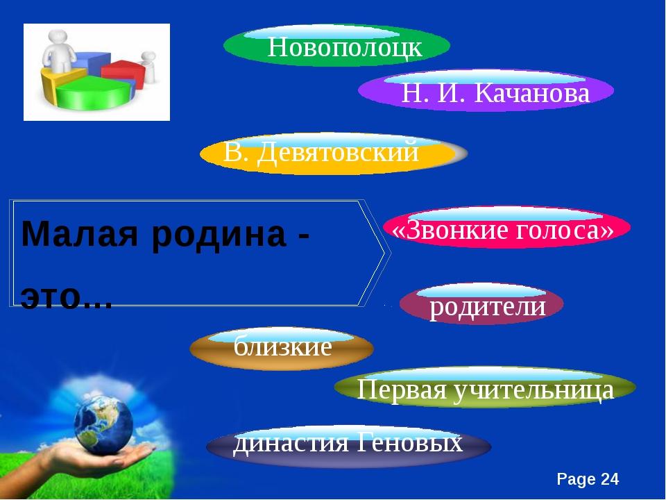 Малая родина - это... династия Геновых близкие Первая учительница Новополоцк...