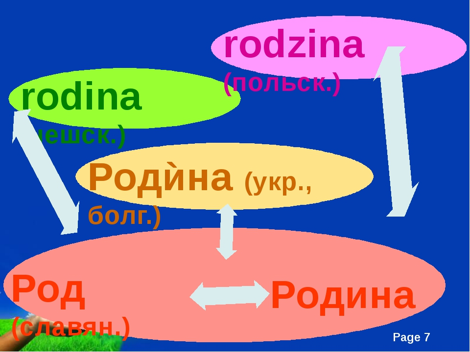 Род (славян.) Родина Родѝна (укр., болг.) rodina (чешск.) rodzina (польск.)...