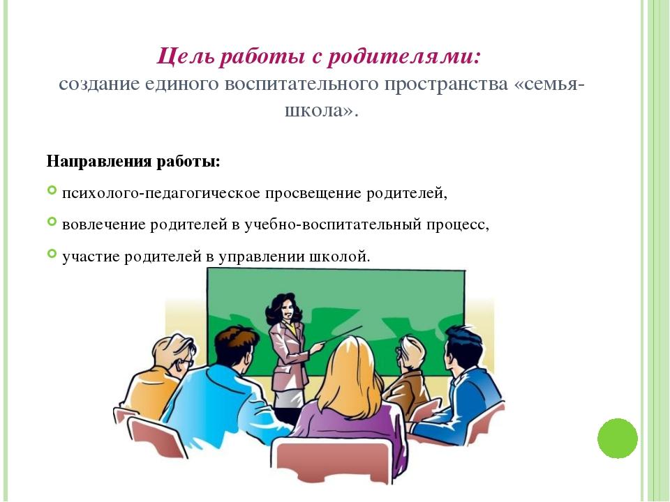 Цель работы с родителями: создание единого воспитательного пространства «семь...