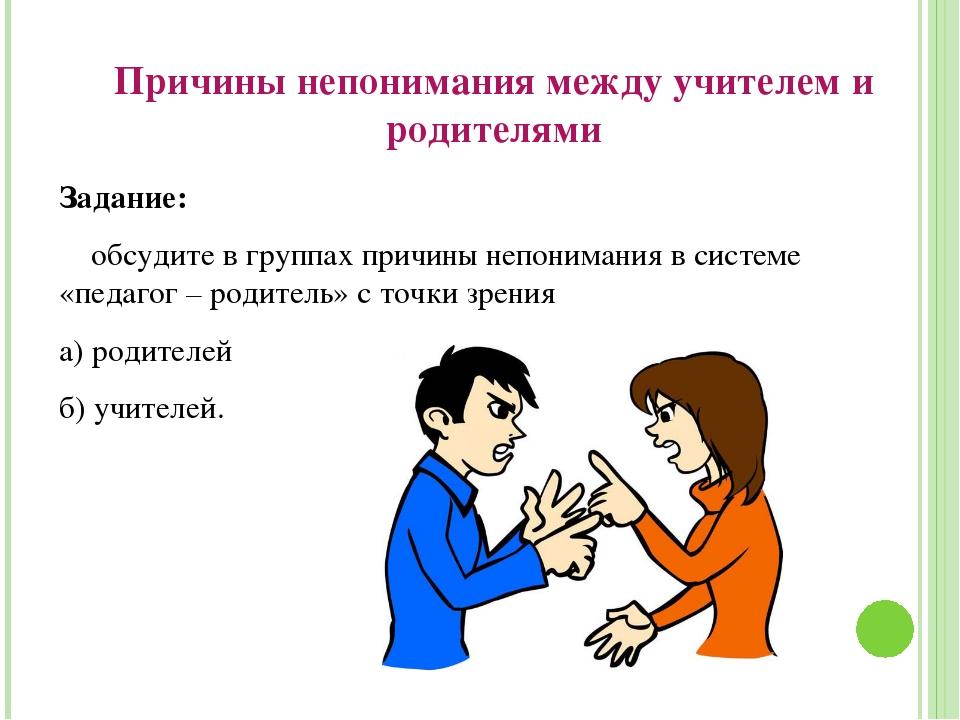 Причины непонимания между учителем и родителями Задание: обсудите в группах п...