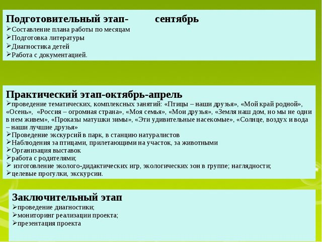 Подготовительный этап- сентябрь Составление плана работы по месяцам Подготовк...