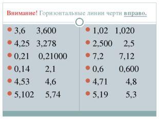 Внимание! Горизонтальные линии черти вправо. 3,6 3,600 4,25 3,278 0,21 0,2100