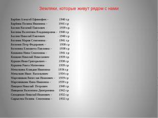 Земляки, которые живут рядом с нами Барбин Алексей Ефимофич – 1940 г.р Барбин