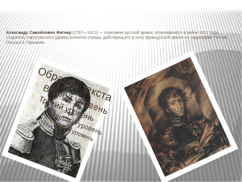 Александр Самойлович Фигнер (1787—1813)— полковник русской армии, отличивший...