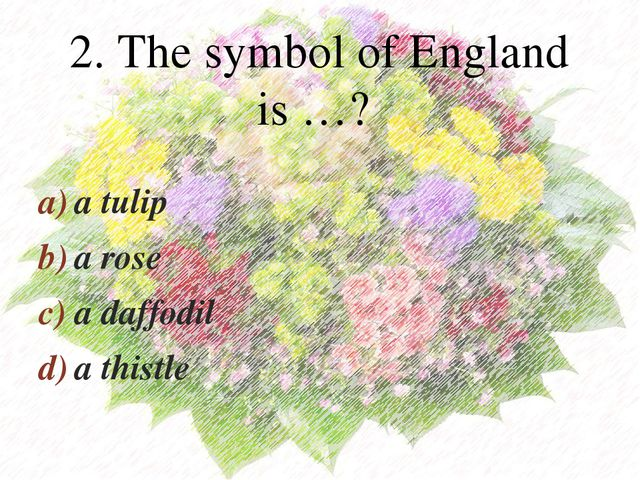 a tulip a rose a daffodil a thistle 2. The symbol of England is …? 