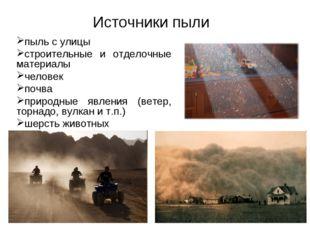Источники пыли пыль с улицы строительные и отделочные материалы человек почва